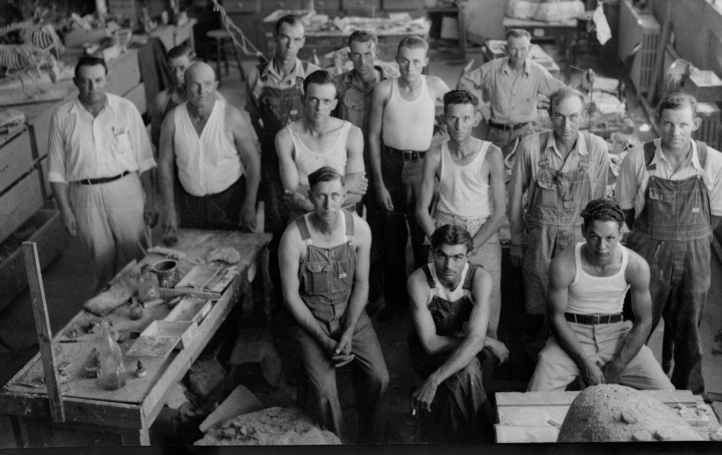 WPA Crew in Workship at Norman. Reading left to right standing. House, Gardner, Smith, Houck, Graham, Brown, Chesser, Stark, Hart, Covey, Hurst. Sitting- Grizzle, Goodman, Hutchins