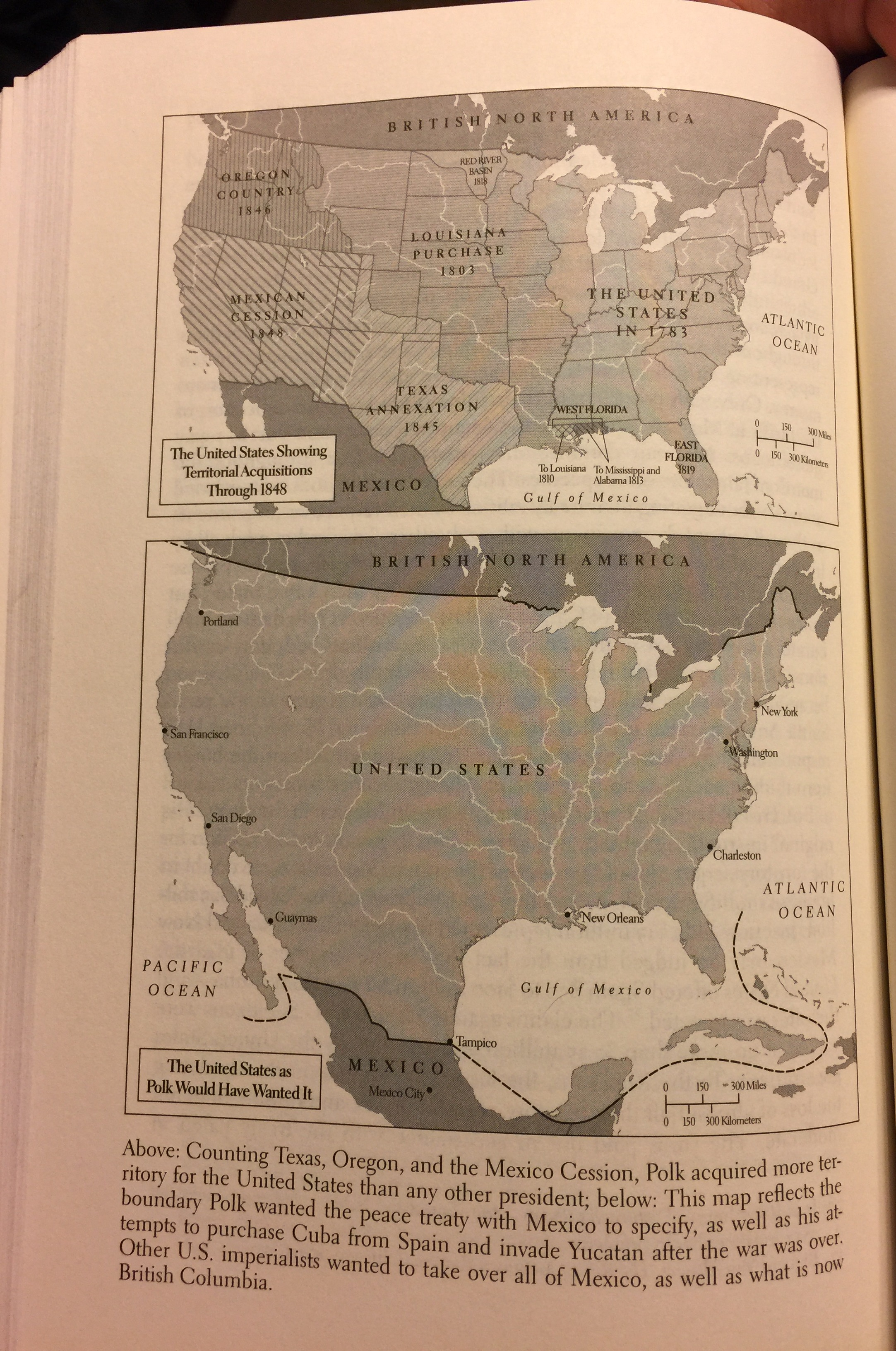 The US through 1848 v. The US as Polk Wanted