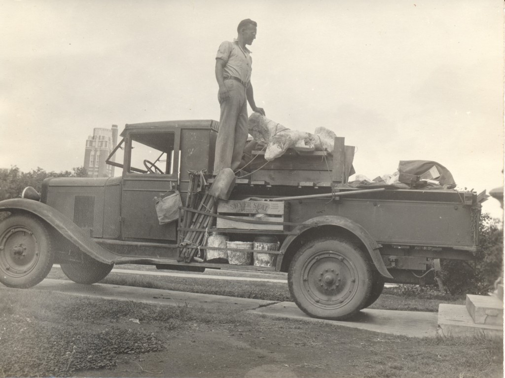 The Old University Chevrolet loaded with bones from Eldorado. Picture made at the east end of the O.U. Geology Building. L.I. Price standing on truck