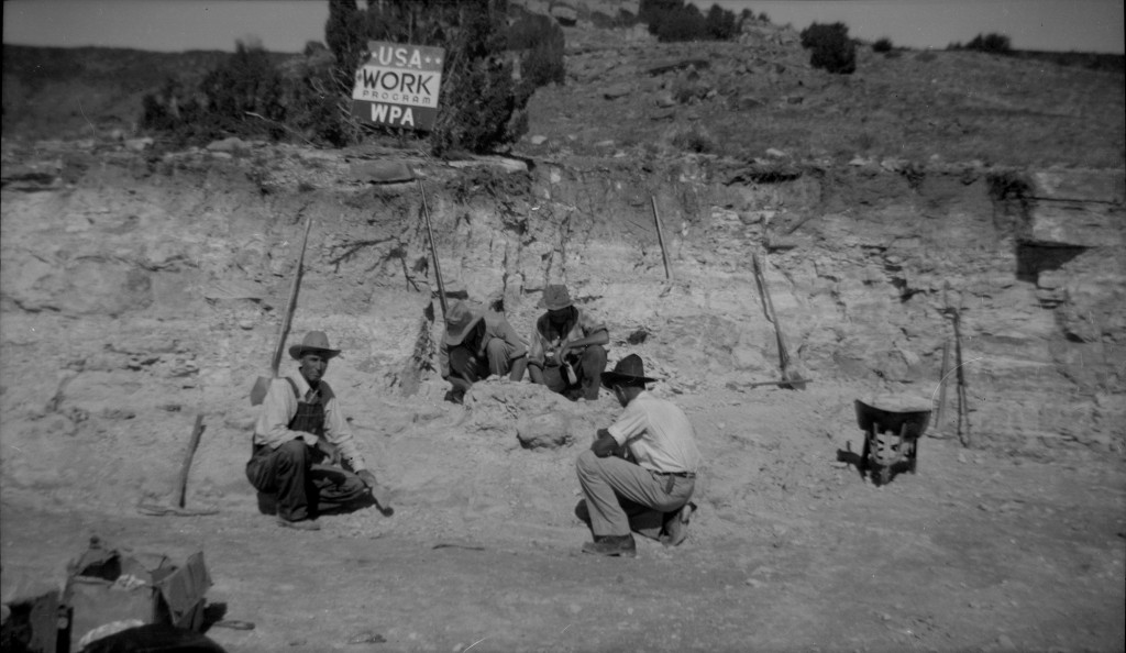 Workers in the field under WPA sign 2
