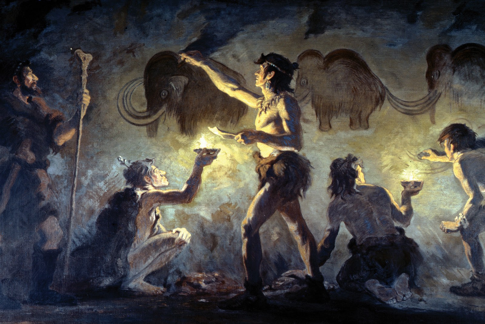 Stone Age artists at work by Charles Knight