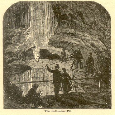 he Bottomless Pit in Mammoth Cave, woodcut, 1887 (Nuno Carvalho de Sousa Collection, Lisbon)