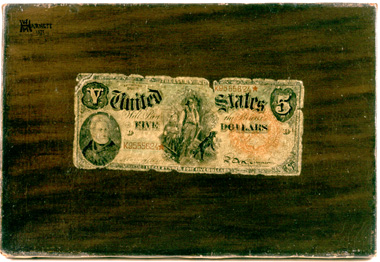 Harnett's ultrarealistic paintings of money earned him a visit from the secret service