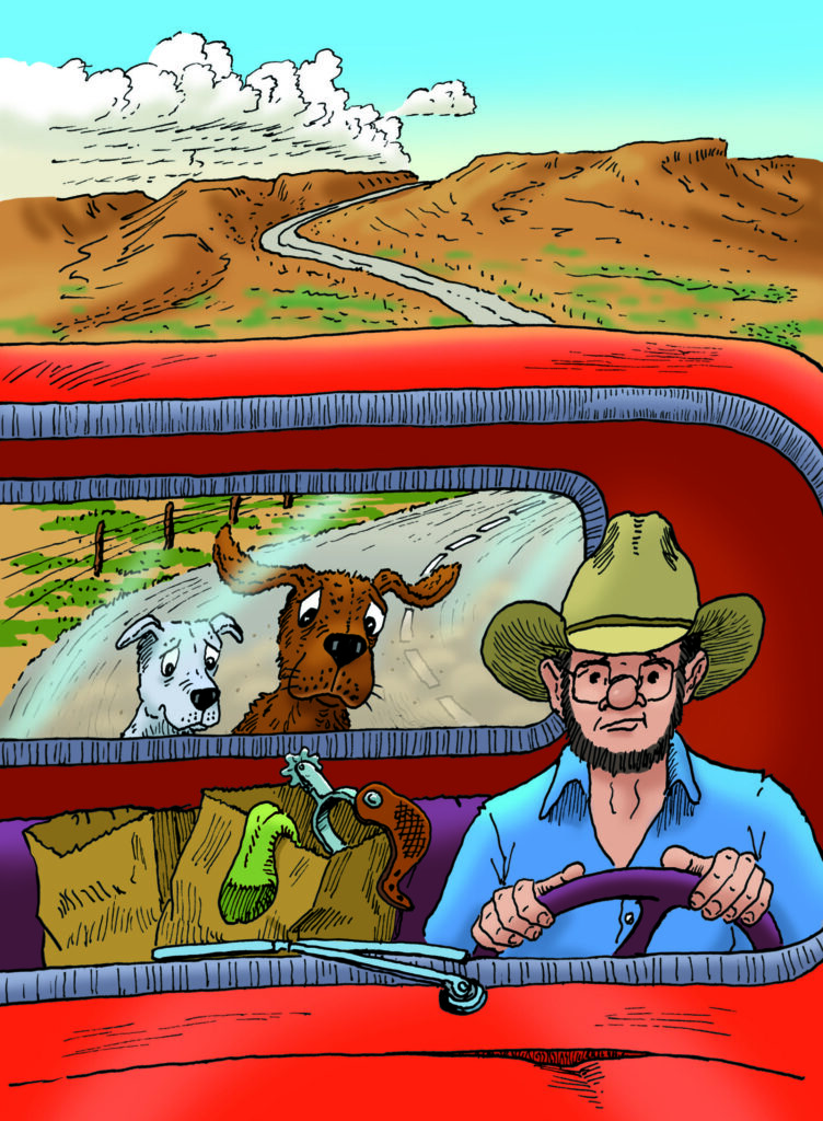 Hank the cowdog book illustration, Slim Chance (human) driving a pickup truck with two dogs--Hank the cowdog and Drover-- in the bed