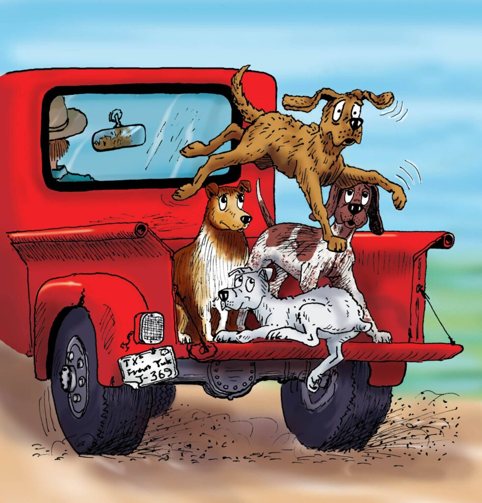 decorative image of a hank the cowdog book illustration of four dogs in the back of a pickup truck.